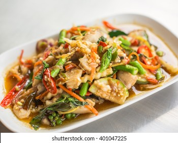 Spicy fried fish is Thai food with herb