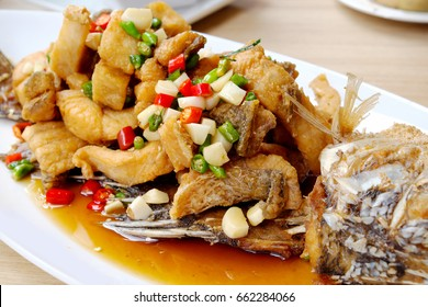 Spicy fried fish in Thailand.