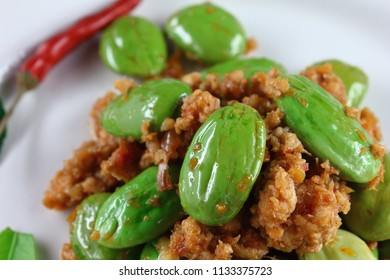 spicy fried pork with stink bean food in thailand