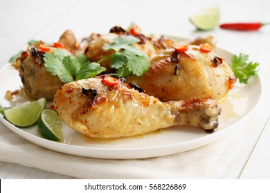 Spicy Homemade chicken Wings with lime and coriander