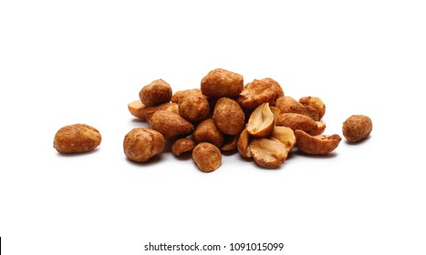 Spicy hot peanuts pile isolated on white background