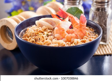 Spicy instant noodles soup with shrimp