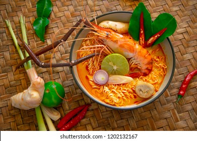 "Spicy instant noodles soup with shrimp,""Tom Yum Kung"",Thai style noodle"