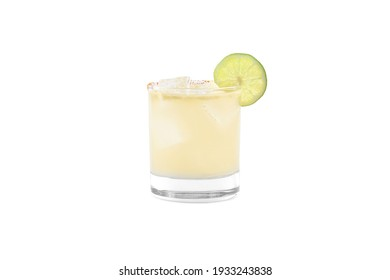 Spicy jalapeno lime margarita. Spicy margarita in a short cocktail glass. Alcoholic beverage.