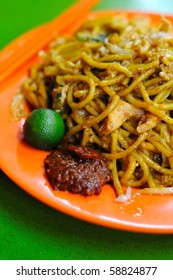 Spicy Malay style fried noodles. Made with various ingredients and vegetables. For concepts such as healthy eating and lifestyle, and food and beverage.