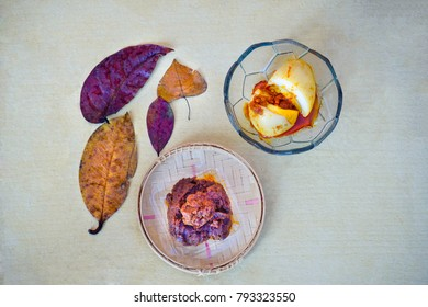Egg balado images stock photos vectors shutterstock spicy meat and egg with chilly sauce in white background with ornamental leaves captured from top thecheapjerseys Image collections