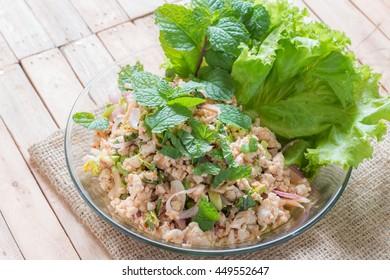 Spicy minced chicken salad,Thai Food.