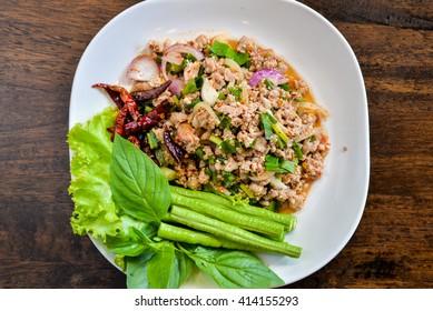 Spicy minced pork salad, minced pork mash with spicy, Thai food