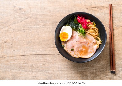 spicy miso udon ramen noodle with pork - japanese food style