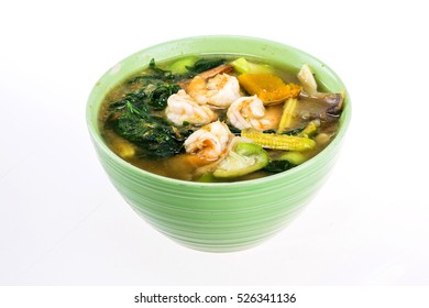 Spicy mixed vegetable soup with shrimp food from Thailand Asia