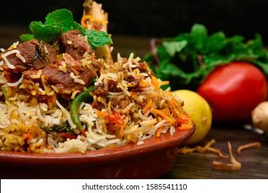 Spicy mutton biryani food photography