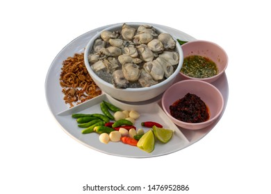 Spicy oyster and roasted chilli jam salad, Thai food. isolated on white background with clipping path.