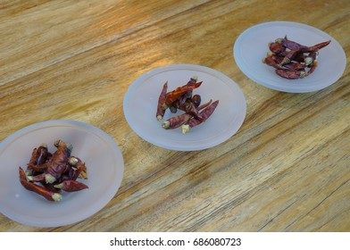 Spicy Pakistan Red Pepper on Glass Plates