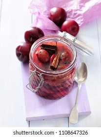 Spicy plums marinated in red wine and balsamic vinegar
