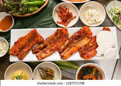 Spicy pork ribs on a plate