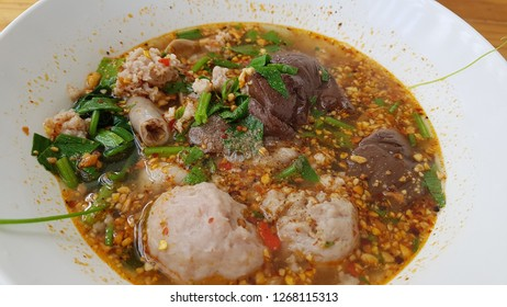 Spicy pork soup Tomyum noodlesoup  lunch Thaifood