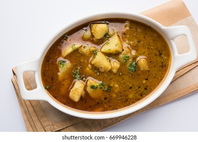 Spicy potato curry, popular indian main course menu, also known as Aloo sabji or sabzi in hindi