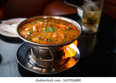 spicy prawn soup or tom yum goong with rice