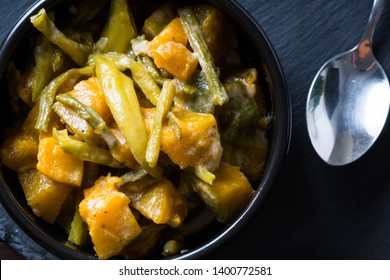spicy pumpkin in shrimp coconut milk sauce or also known as ginataang kalabasa in the Philippines