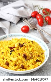 Spicy rice with spices and dried fruits.Healthy eating rice with spices