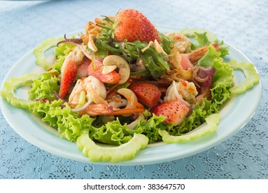spicy salad sea food with Strawberry