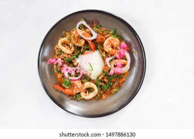 spicy salad or stir-fried seafood with winged bean, Thai food