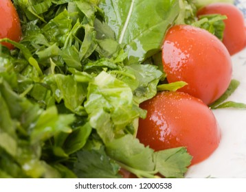 Spicy salad with tomato, lettuce, rocket and cress