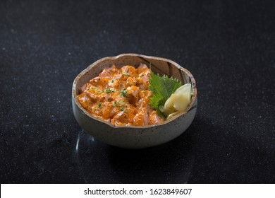 Spicy salmon salad or samon don a taste of Japanese food isolated