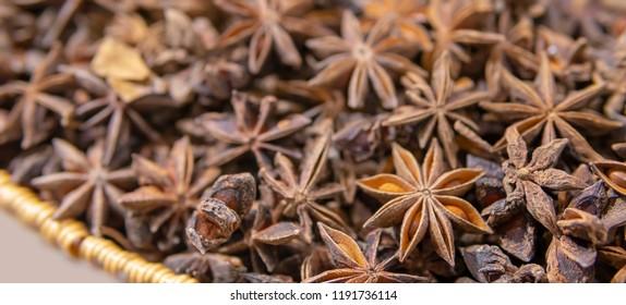 Spicy seasoning Anise stars.