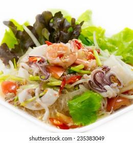 Spicy Shrimp with Squid Salad (Thai food)
