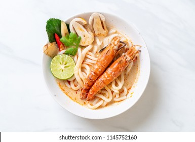 spicy shrimps udon ramen noodle (Tom Yum Goong) - japanese fusion food style