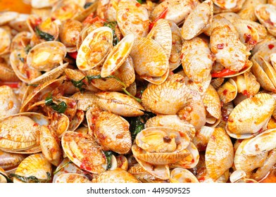 Spicy Stir-Fried Clams In A Fresh Food Market, Thai Food