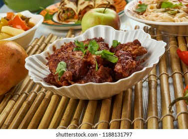 Spicy Szechuan Chicken, Schezwan cuisine, Asia  Chinese cuisine , Traditional assorted dishes, Top view.