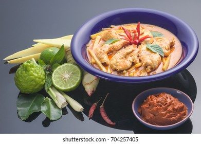 Spicy and Tasty Red curry with chicken and young bamboo shoot, Thai Dishes