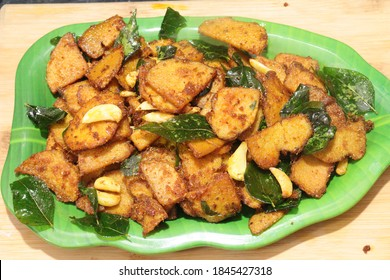 Spicy tasty south india traditional homemade elephant foot yam Fry  recipe cooked ready to serve