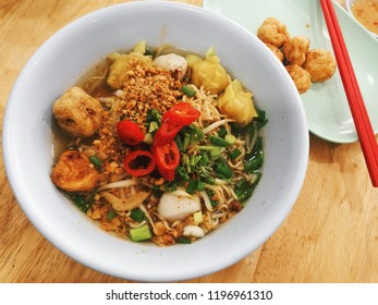Spicy Thai Noodles with fish ball, Tomyam noodles, Thai food, Thailand