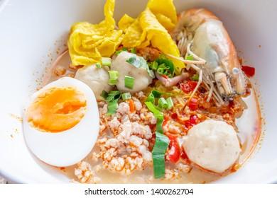 Spicy Thai Noodles with herbs, Tomyam noodles, Thai food, Thailand