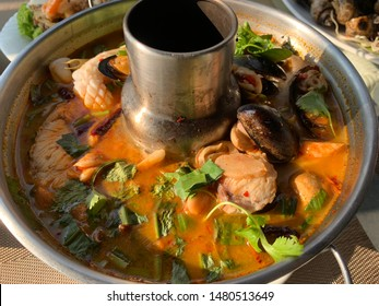 A spicy Thai style hotpot know as Tomyam seafood.