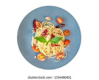 Spicy tuna olive spaghetti by top view image. New fusion menu between Italian traditional food with Thai style. Food design for who like hot and spicy tasty. Temptation menu for every meal in day.