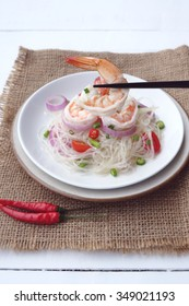 Spicy vermicelli salad with prawn, Thai food