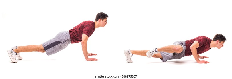 Spider Crawl. Young man doing sport exercise.