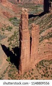 Spider Rock sandstone spire; Spider Rock overlook; Canyon de Chelly National Mounument in Arizona