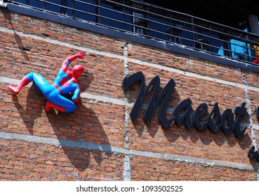 The spiderman climb the wall , at Maesort restaurant ,Tak province ,Thailand on 1 February 2018