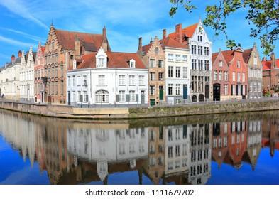 Spiegelrei and the Langerei in Bruges. Belgium , Europe.