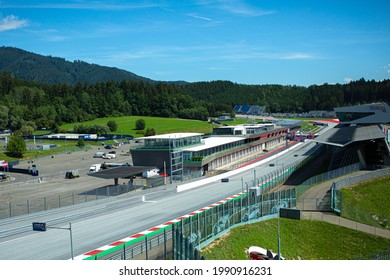 SPIELBE, AUSTRIA - Aug 15, 2019: Panoramic view of Red Bull Ring  The Red Bull Ring is a motorsport race track in Spielberg, Styria, Aus