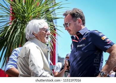 Spielberg, Austria. 01/07/2018. F1 Grand Prix of Austria. F1 World Championship 2018. Bernie Ecclestone and Christian Horner talking.