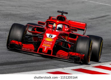 Spielberg, Austria. 01/07/2018. F1 Grand Prix of Austria 2018. F1 world championship. Sebastian Vettel, Ferrari, third at finish.
