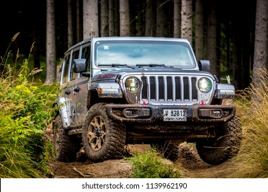 Spielberg / Austria - 07/18/2018: The new Jeep Wrangler JL Rubicon off-road