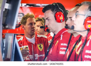 Spielberg, Austria. 28 June, 2019. Grand Prix of Austria. F1 World Championship 2019. Sebastian Vettel, Ferrari, in the garage