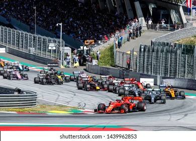 Spielberg, Austria. 28-30 June, 2019. Grand Prix of Austria. F1 World Championship 2019. Start of the race with Charles Leclerc, Ferrari, leading the group.